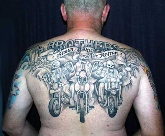 big skeletons bikers on motorcycles tattoo on back. Black Bedroom Furniture Sets. Home Design Ideas